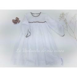 Vestido niña Mangas tul blanco y camel de Ancar