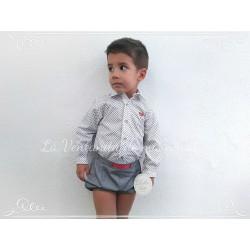 Conjunto Bebe niño gris con bombacho y camisa de Dolce Petit
