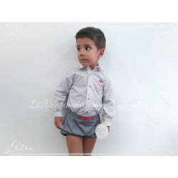 Conjunto con camisa y bombacho gris y rojo de Dolce Petit