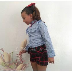Conjunto niña bombacho cuadros marino y rojo y camisa de Dolce petit