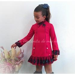 Vestido rojo sudadera y cuadros de Dolce Petit