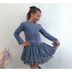 Vestido azul con encaje de Dolce Aela