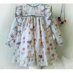 Vestido niña LLamas de Mon Petit Bonbon