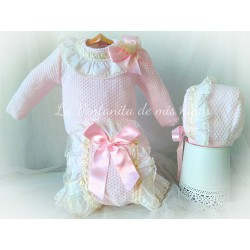 Conjunto bebe niña rosa con braga de Nini