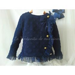 Sudadera niña azul marino con botones dorados y volantes de tul de Dolce Petit