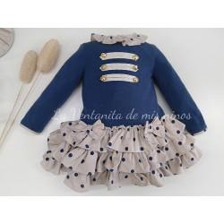 Vestido niña cuerpo azul marino y falda estampada a lunares de dolce Petit