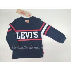 Camiseta azul marino con rayas rojas y logo blanco de Levis Kids