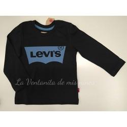 Camiseta marino con logo color azul cielo de Levis Kids