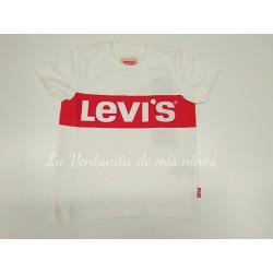 camiseta blanco logo rojo Levis Kids