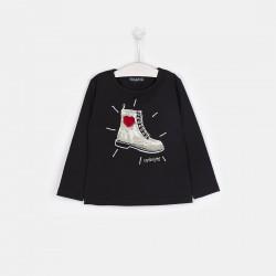 Camiseta Bota negra lentejuelas plata de Conguitos