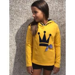Sudadera niña amarilla corona negra terciopelo de Eva Castro