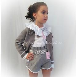 Conjunto joya niña camisa, short y chaqueta de Lolittos