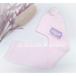 Gorro bufanda rosa bebé de Sigar