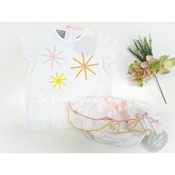 Conjunto camiseta estrellas con braga de Mon Petit Bonbon