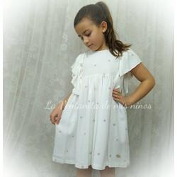 Vestido Linen estrellas bordadas de Eve Children