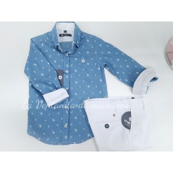 CAMISA DENIM ESTAMPADO MARINERO DE NACHETE