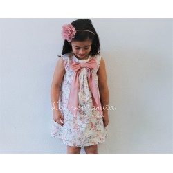 Eve children vestido lazo rosa