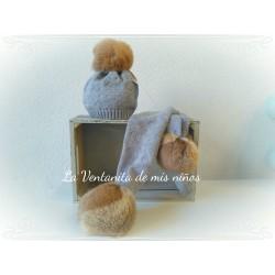 Gorro lana con pompon pelo de Sigar