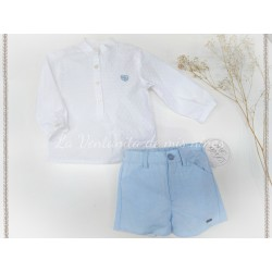 bebe niño camisa plumeti y pantalon corto azul
