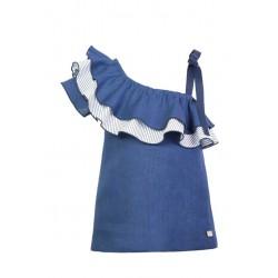 Vestido azul volante de Eve Children