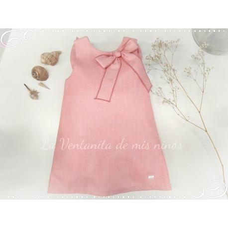 Vestido rosa palo con lazo de Eve Children