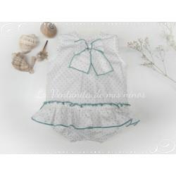 Pelele blanco y verde ahumado de Eve Children