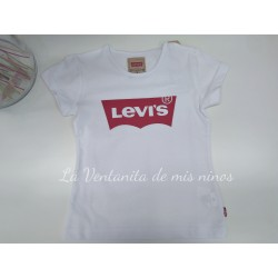 Camiseta blanca logo rojo de Levis de niña