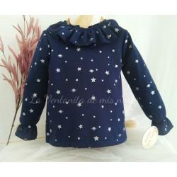 Sudadera azul marino con estrellas plata de Baby Yiro