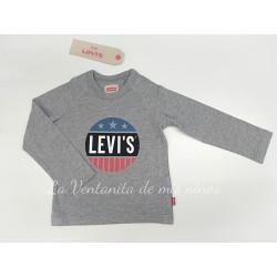 Camiseta gris con logo circulo de Levis Kids