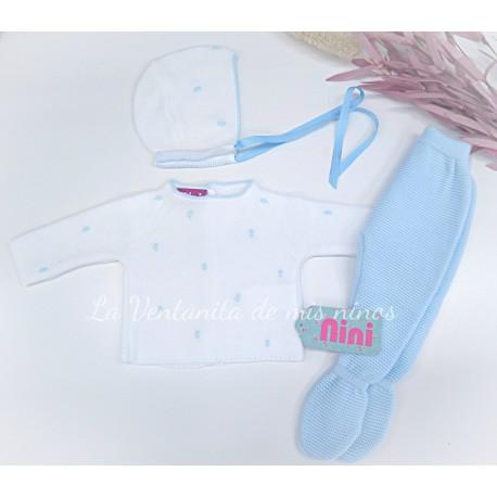Conjunto primera puesta azul y blanco bodoques de Nini
