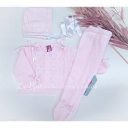 Conjunto Primera puesta rosa con capota de Nini