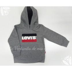 Sudadera gris con logo bandera de Levis Kids