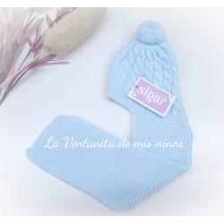 Gorro bufanda azul bebe de Sigar