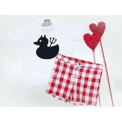Conjunto Pato de Niño con pantalón corto de mon petit bonbon