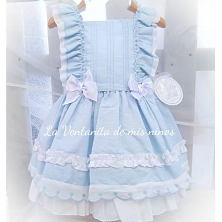 Vestido Azul Celeste Con Volantes De Dolce Petit La Ventanita De Mis Niños