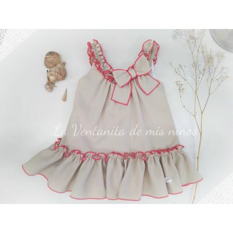 Vestido camel y rosa De Eve Children